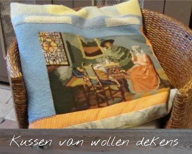 kussen van wollen dekens creatief met kringloop